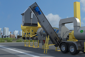 load out conveyor for supermobile hot mix plant
